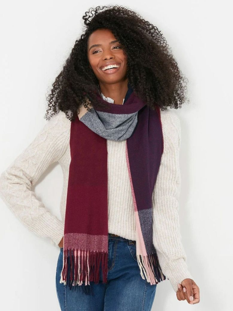 Joules Farah Check Scarf Pink