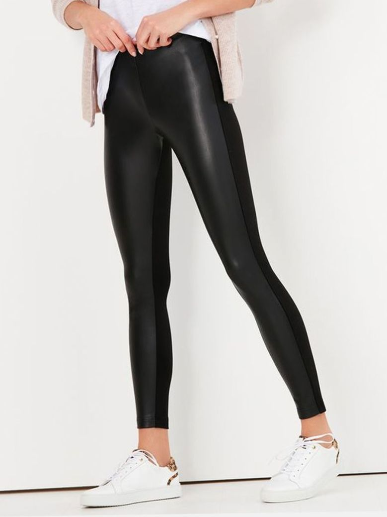 Joules Harriet Pleather Jersey Mix Trousers Black