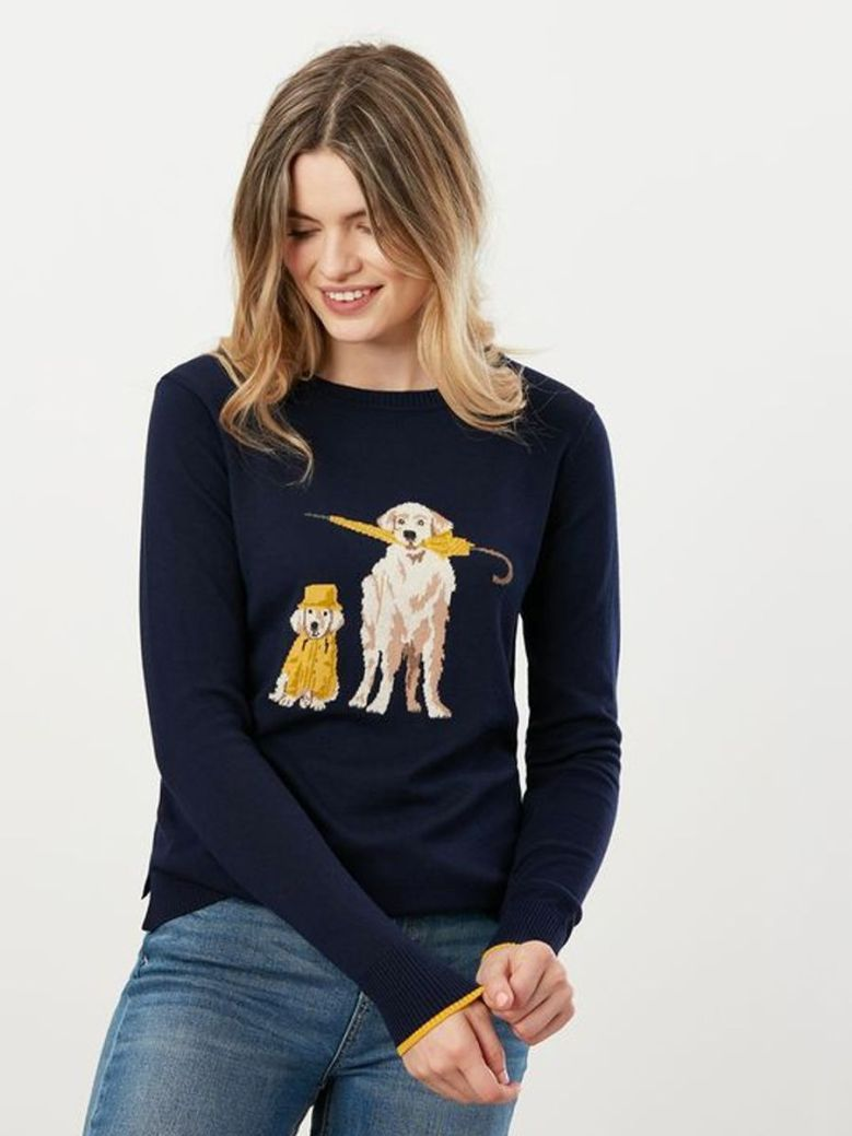 Joules Miranda Knitted Intarsia Crew Neck Jumper Navy Dog