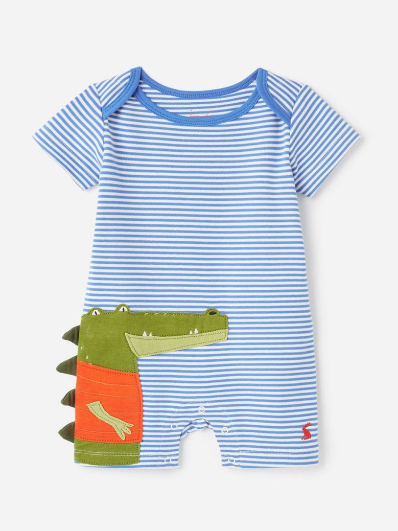 Joules Patch Organically Grown Cotton Applique Babygrow Blue