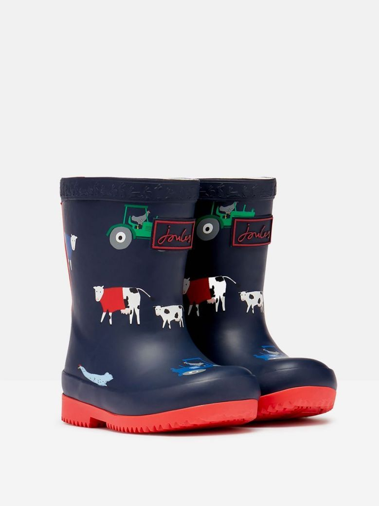 Joules Tall Animal Print Wellies Navy