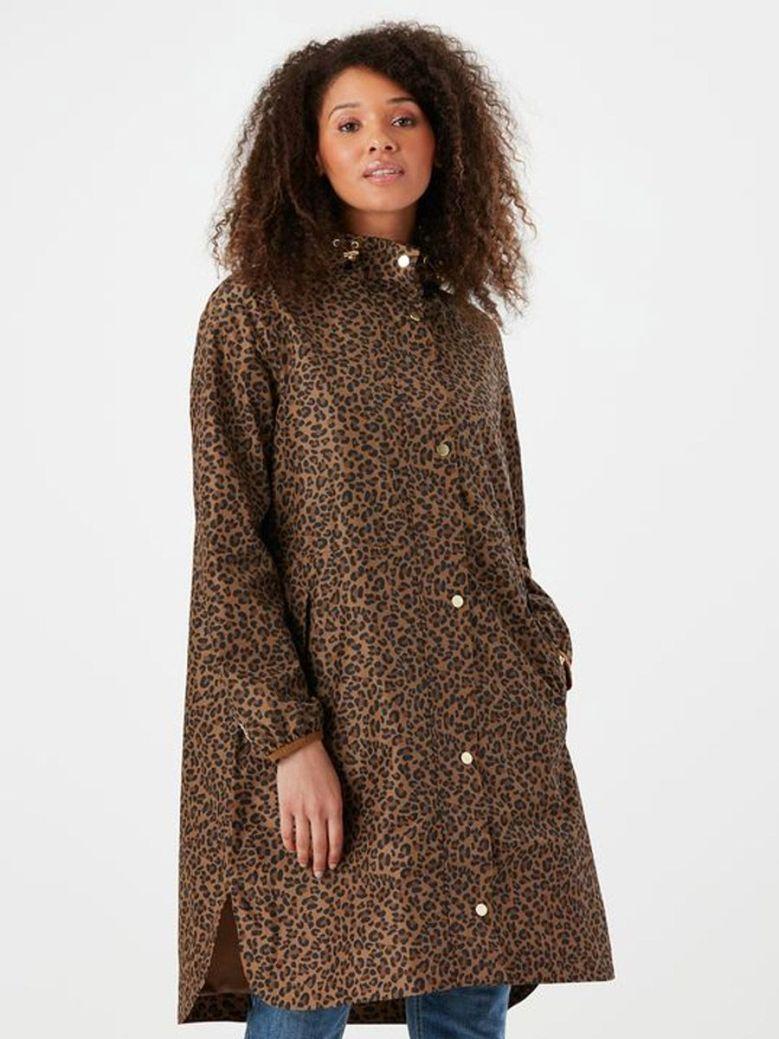 Joules Waybridge Leopard Print Waterproof Packable Raincoat