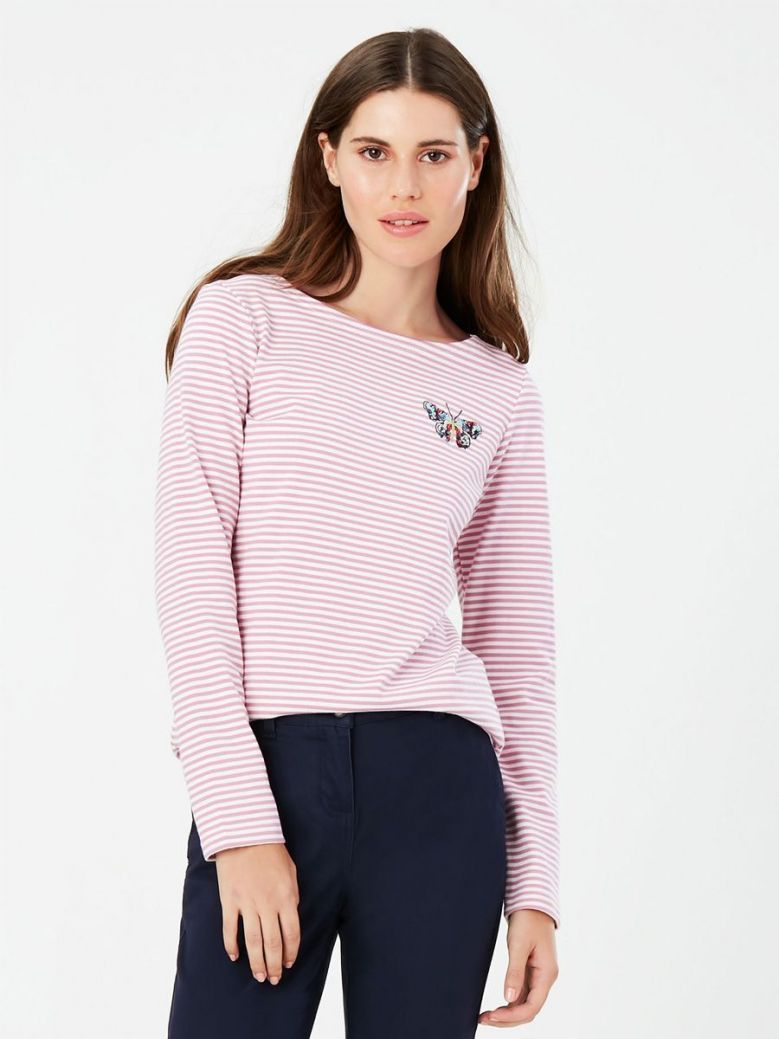 Joules Harbour Long Sleeve Jersey Top Butterfly Embroidery