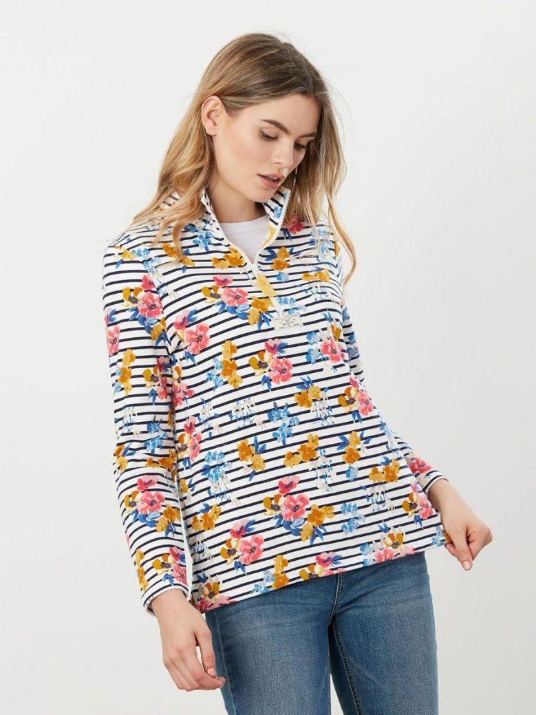 Joules Pip Print Casual Half Zip Sweatshirt Cream Navy Floral