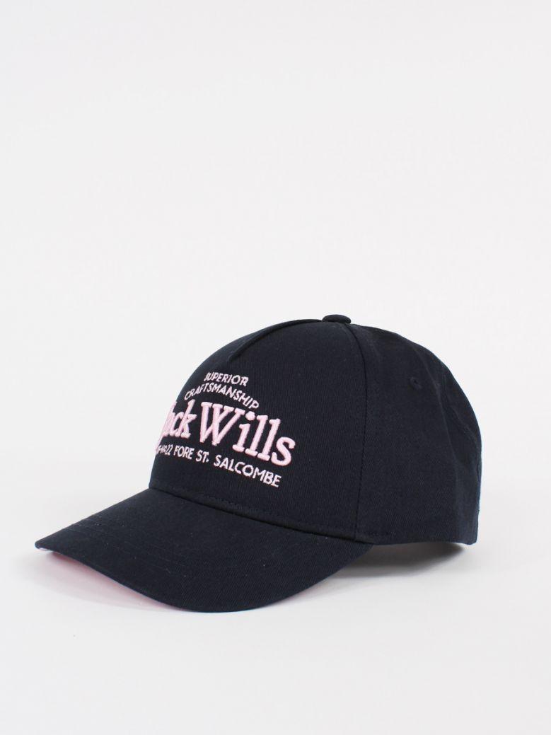 Jack Wills Kids Navy and Pink Logo Baseball Cap