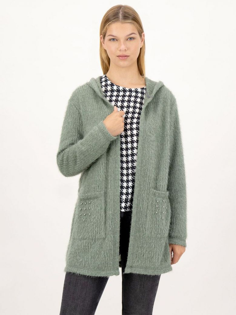 Just White Long Knitted Cardigan With Hood Green