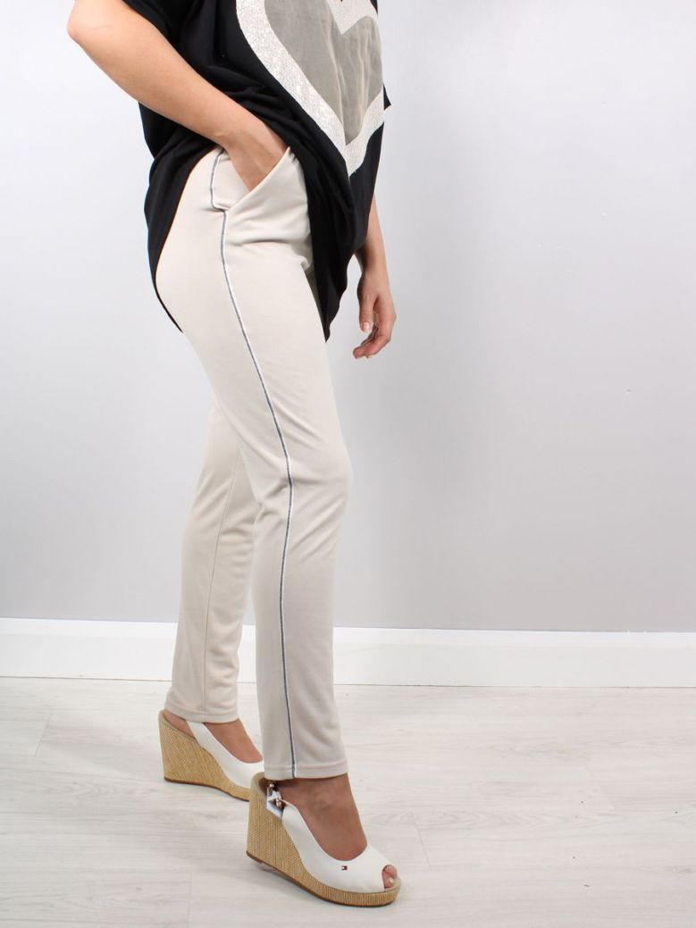 Just White Jogging Style Trousers with Stripe Beige