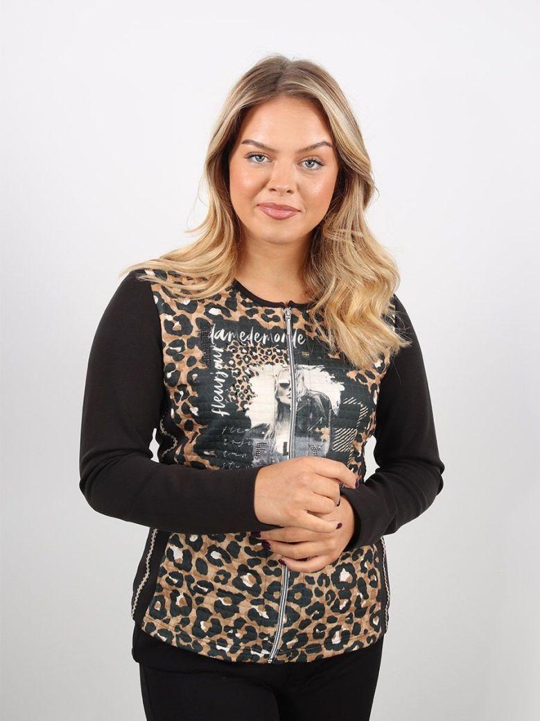 Just White Leopard Print Zip-Up