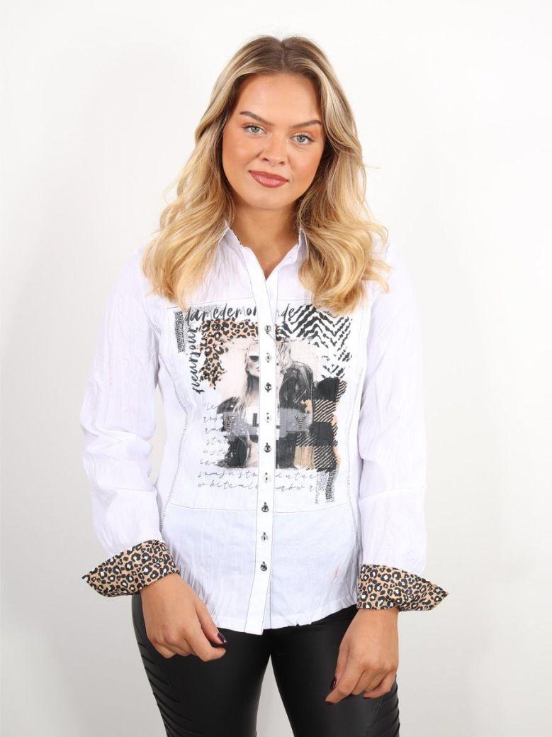 Just White Mixed Animal Print Detail Shirt White