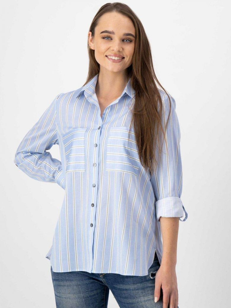 Just White Striped Blouse Blue