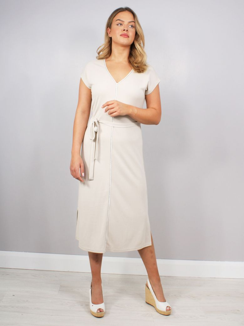 Just White V-Neck Dress Beige