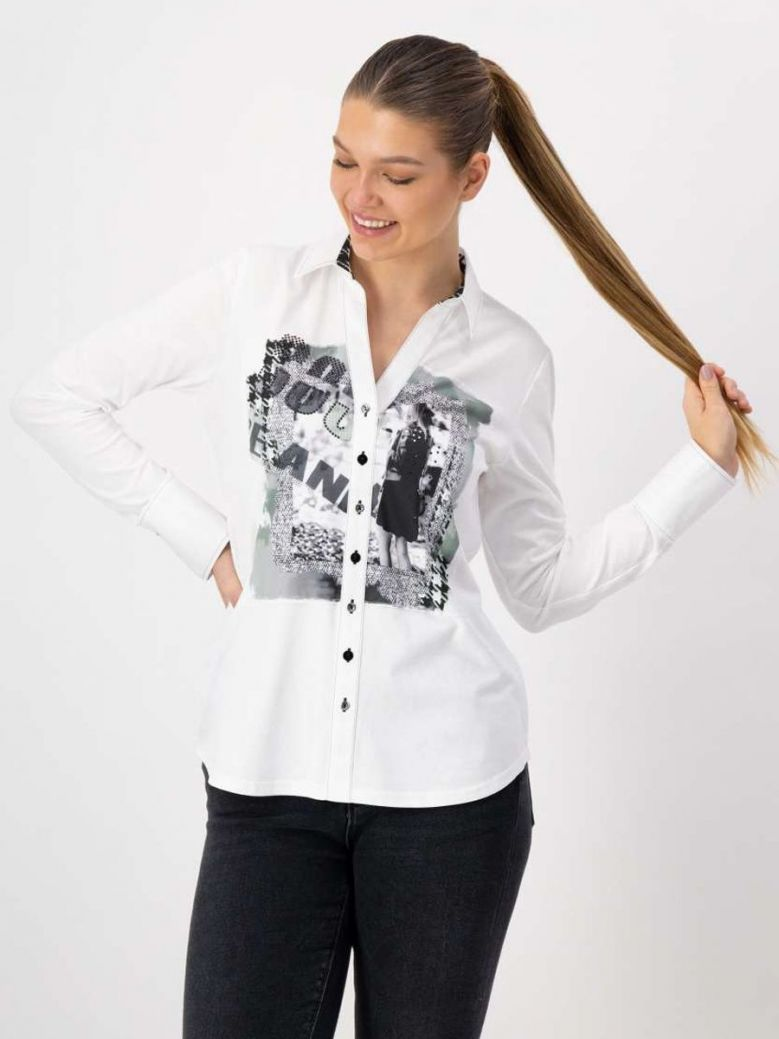 Just White Abstract Print Blouse White