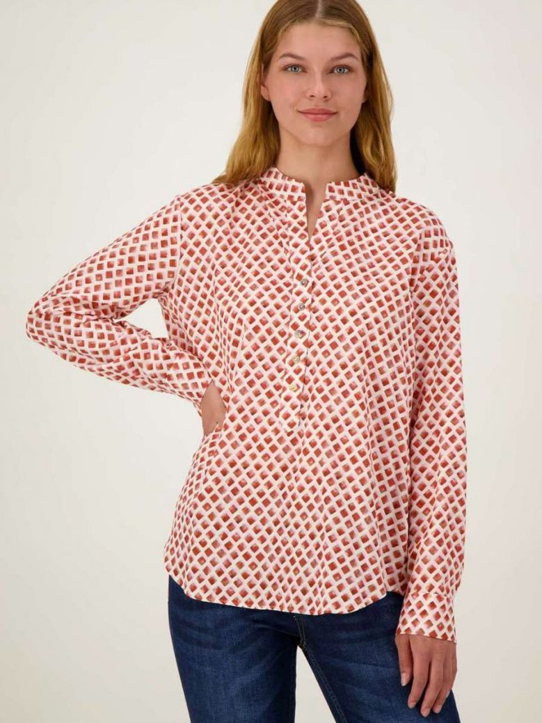 Just White Henley Printed Blouse Multi