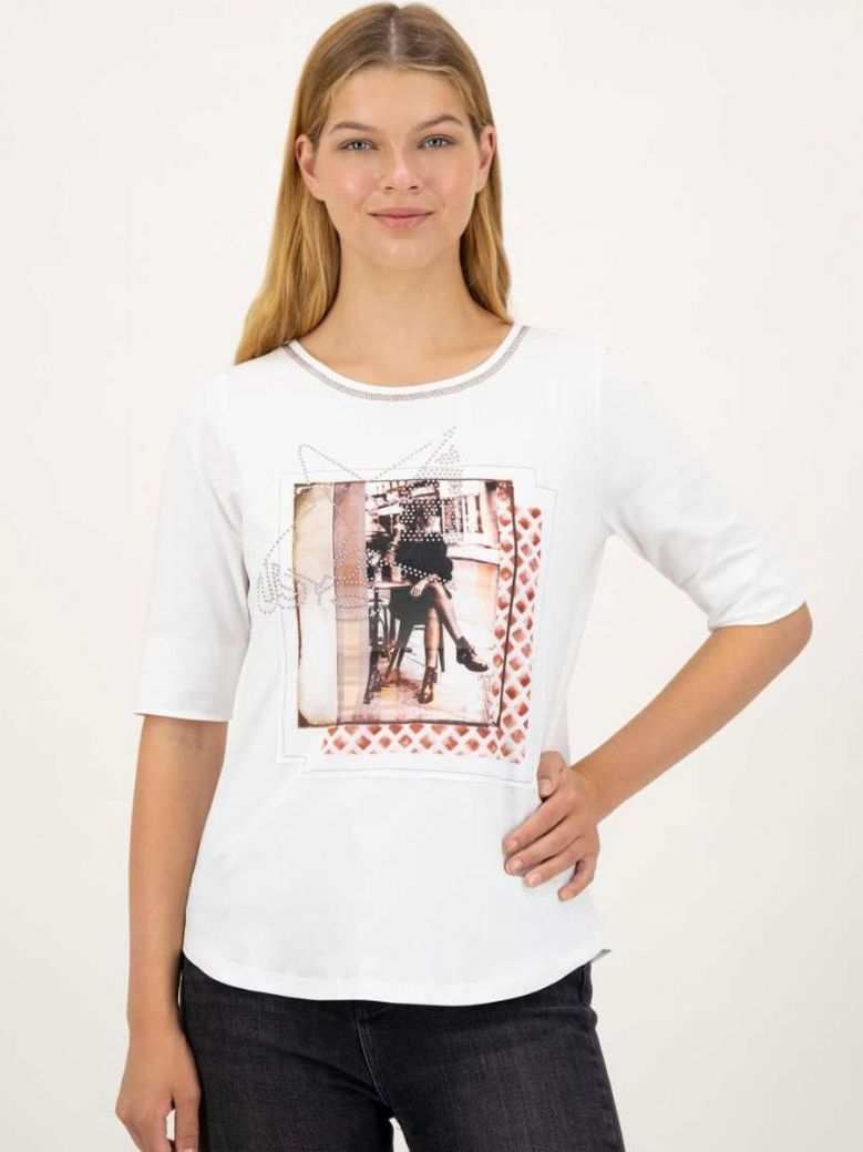 Just White Street Scape Print Top White