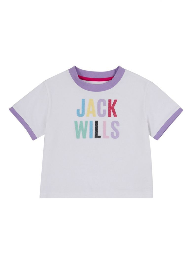 Jack Wills Kids White Multicolour Cropped T-Shirt