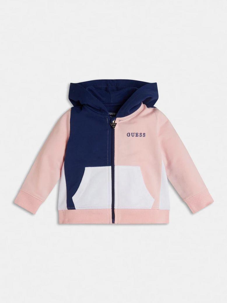 Guess Kids Pink Colour Block Hooded Sweatshirt
