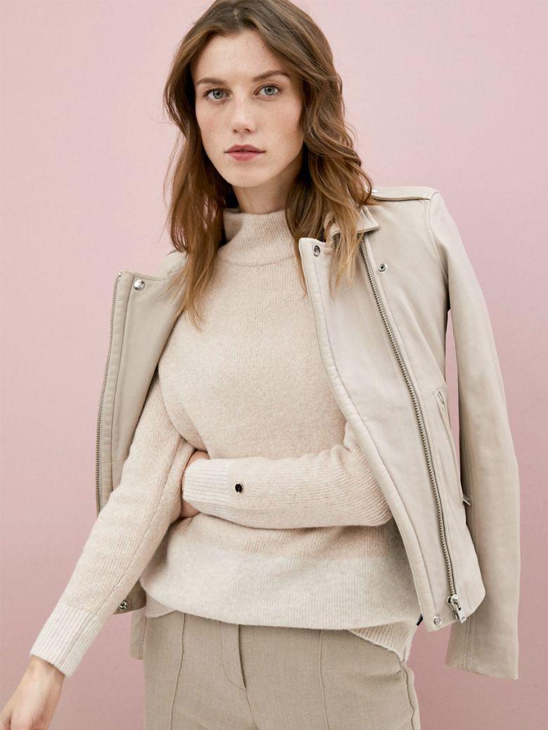 Calvin Klein Ladies Taupe Mock Neck Sweater