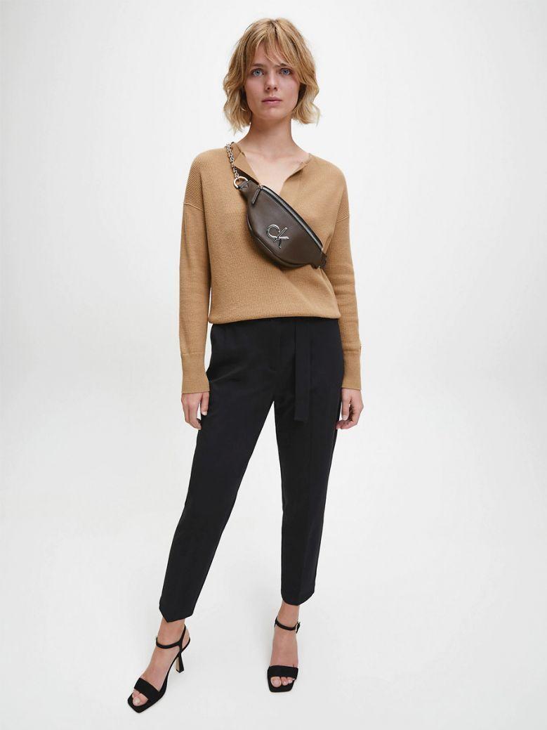 Calvin Klein Ladies Black Milano Paperbag Trousers