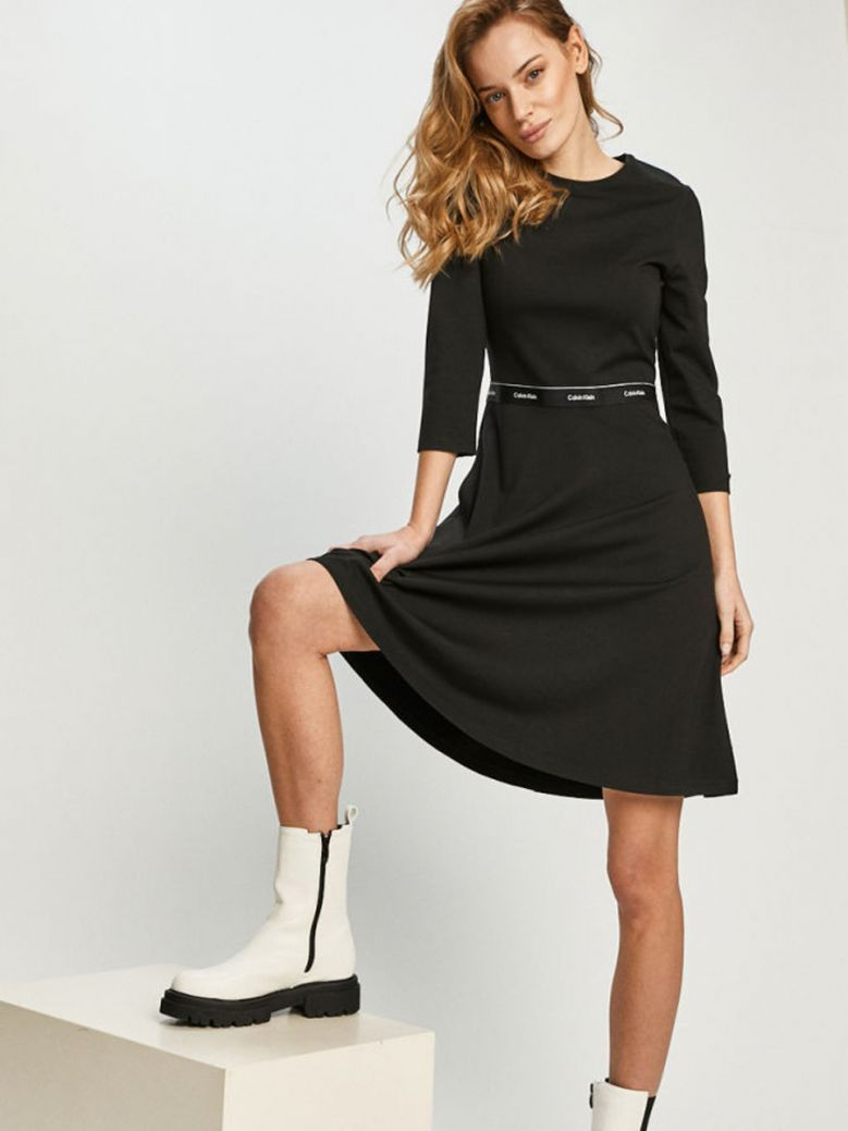 Calvin Klein Ladies Black Milano C Neck Dress