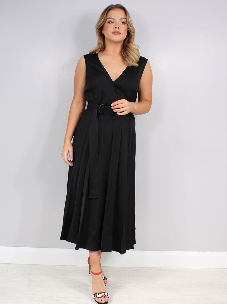 Calvin Klein Black Sleeveless Wrap Dress