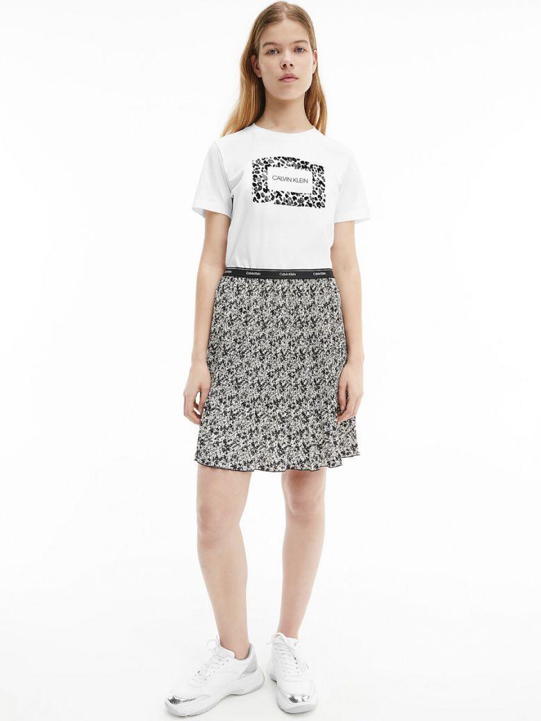 Calvin Klein Bright White Leopard Print Logo T-Shirt