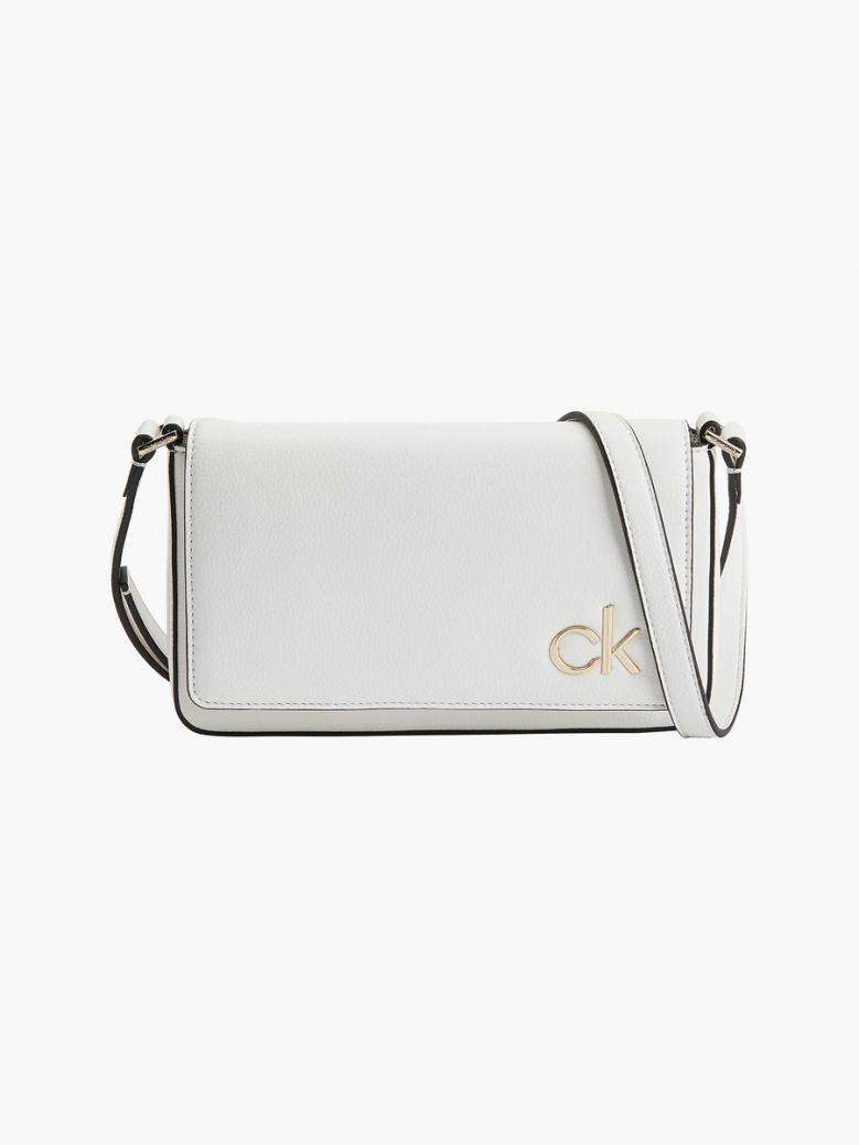 Calvin Klein White Flap Crossbody Bag