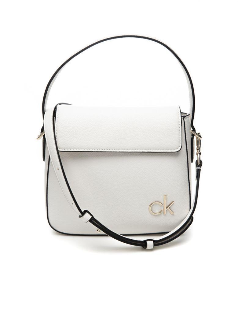 Calvin Klein White Small Hobo Bag with Flap