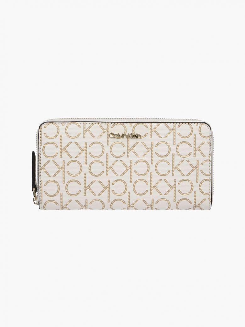 Calvin Klein Birch Mono Large Logo Zip Around Wallet
