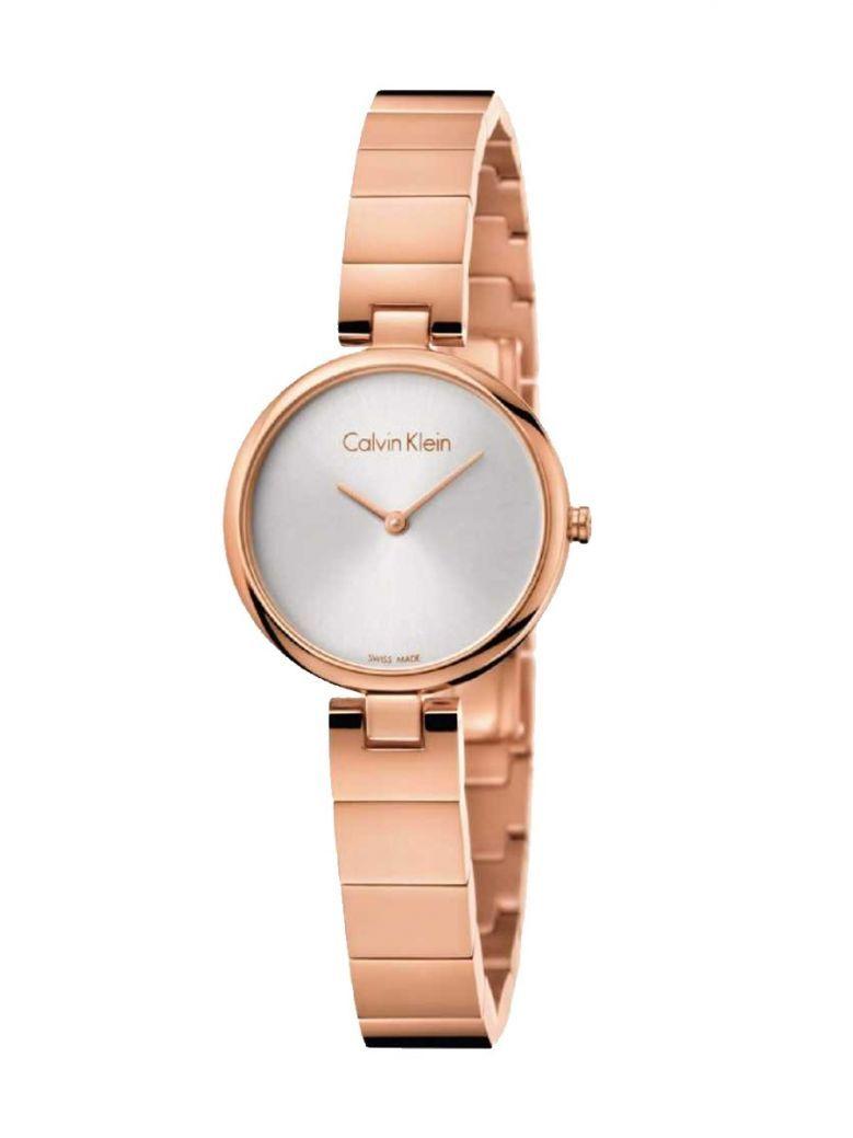 Calvin Klein Ladies Rose Gold Authentic Stainless Steel Bracelet Watch