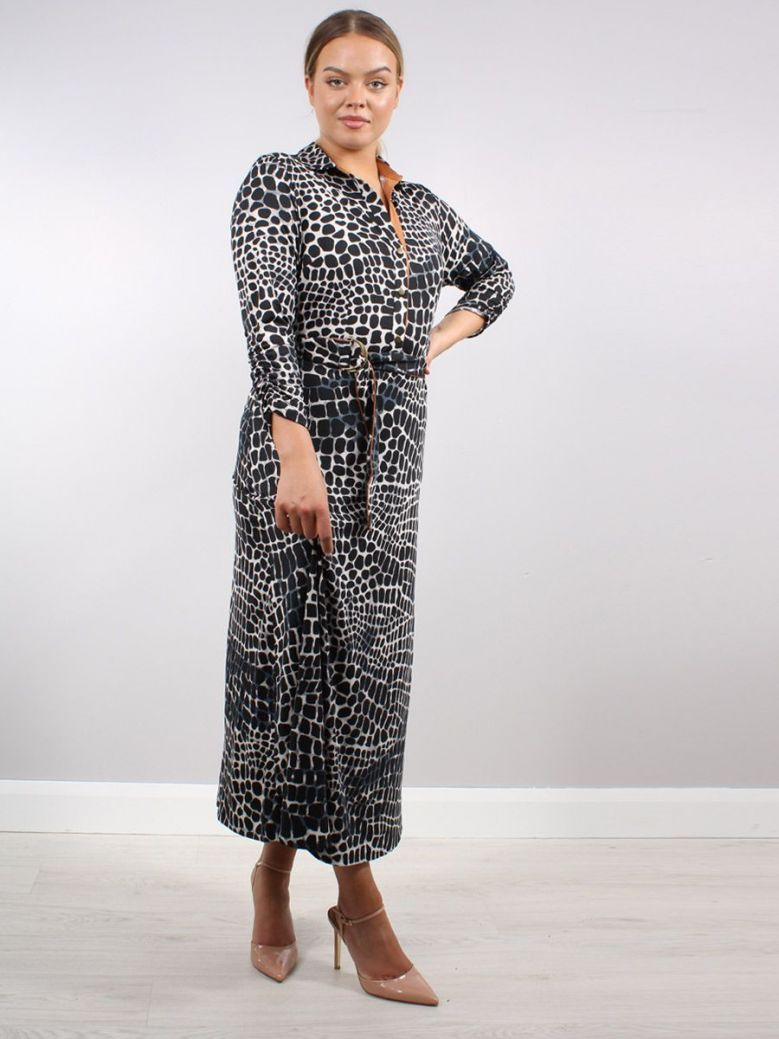 K Design Animal Print Maxi Dress Black