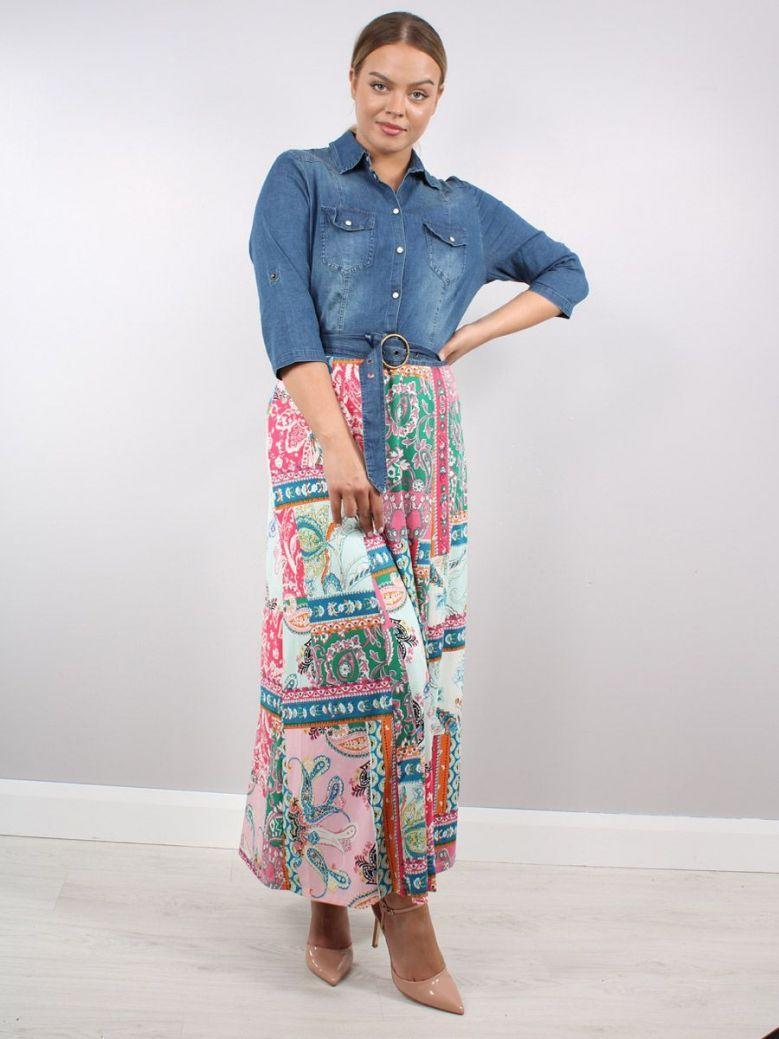 K Design Denim Flower Print Maxi Dress Multi