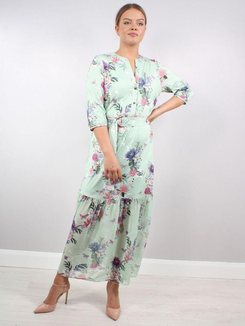 K Design Flower Print Maxi Dress Green