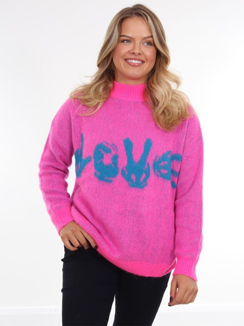 Kaos 'Love' Knit Jumper Pink
