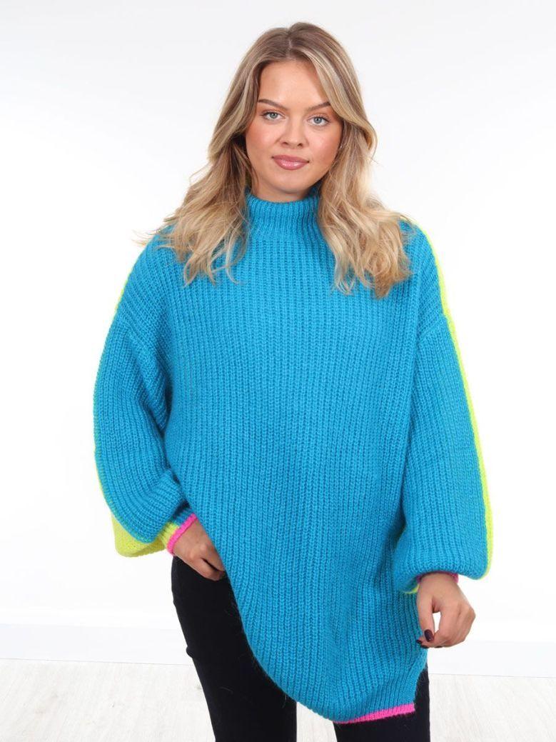 Kaos Tri-Tone Knit Jumper Blue