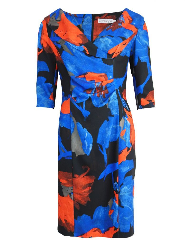 Kate Cooper Flower Print Shawl Collar Dress Blue Multi