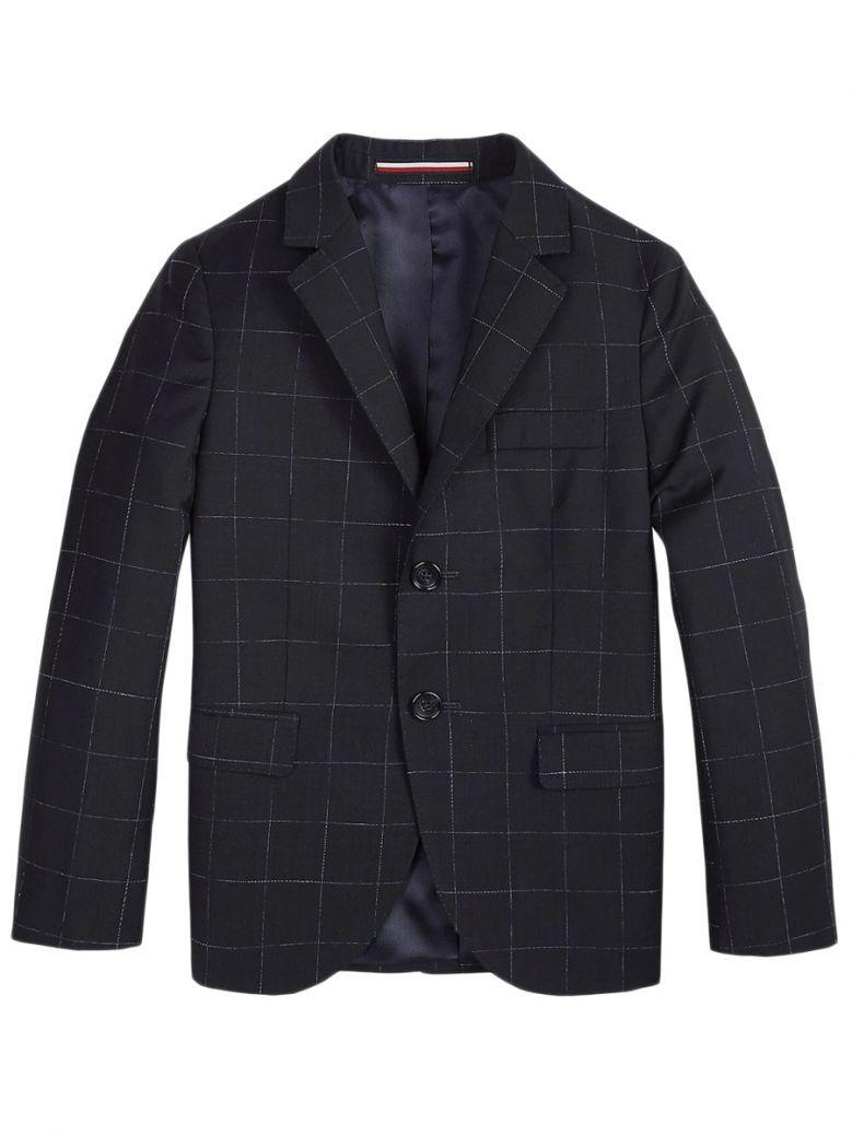 Tommy Hilfiger Kids Navy Tailored Wool Check Blazer