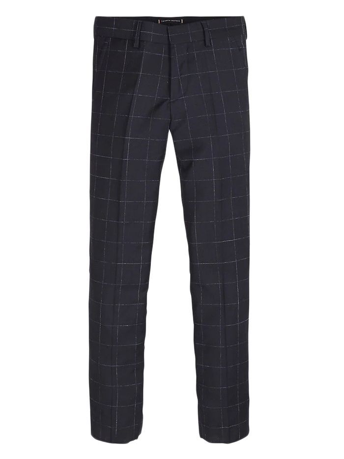 Tommy Hilfiger Kids Navy Tailored Wool Check Trousers