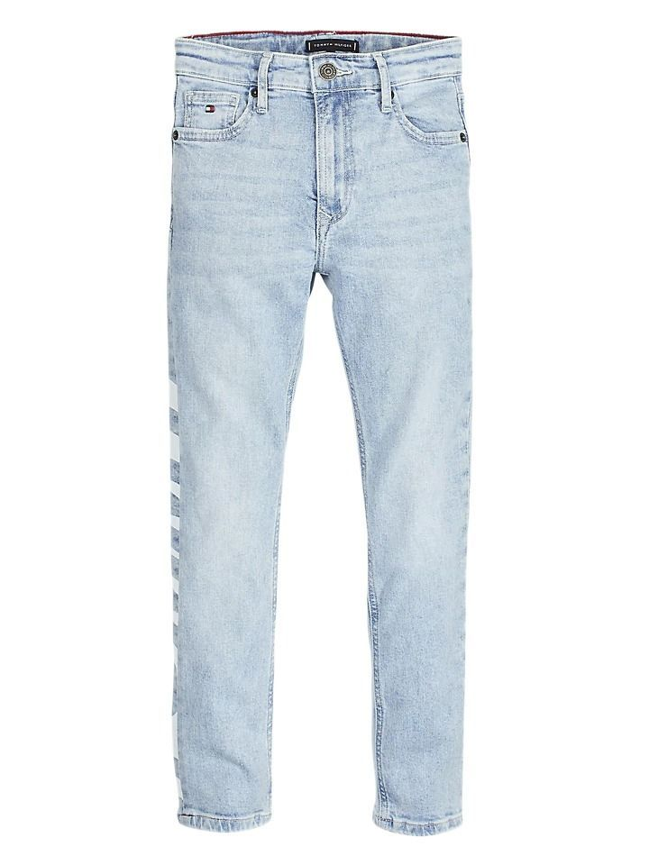 Tommy Hilfiger Light Blue Logo Print Relaxed Fit Jeans
