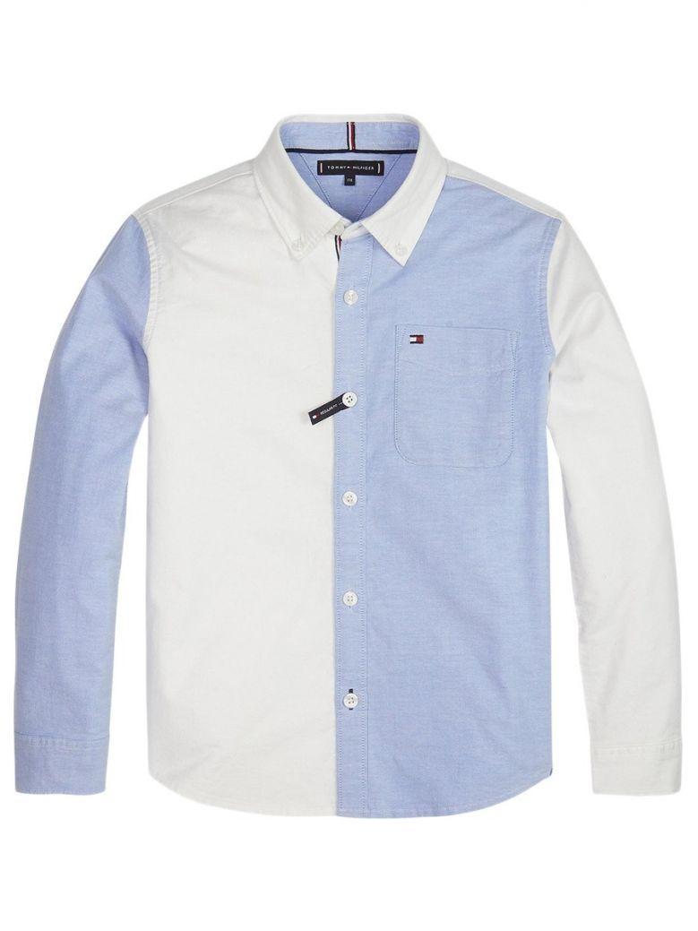 Tommy Hilfiger Kids Blue & White Long Sleeve Colourblock Shirt