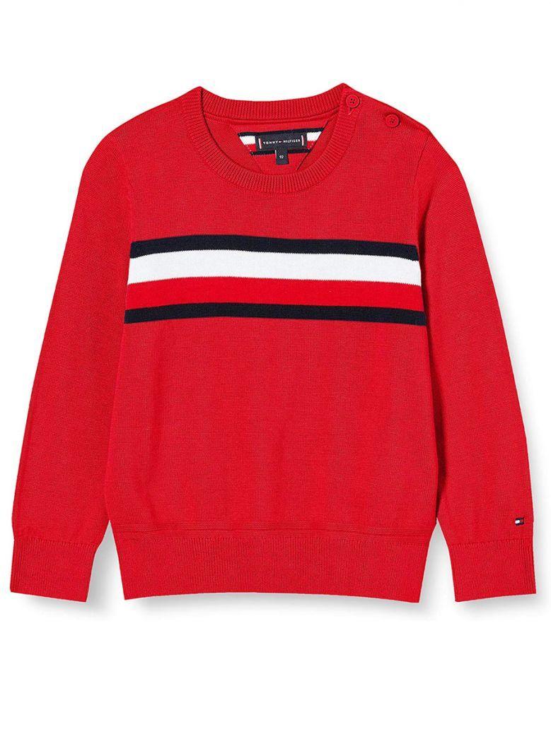 Tommy Hilfiger Kids Deep Crimson Essential Signature Tape Pure Cotton Jumper