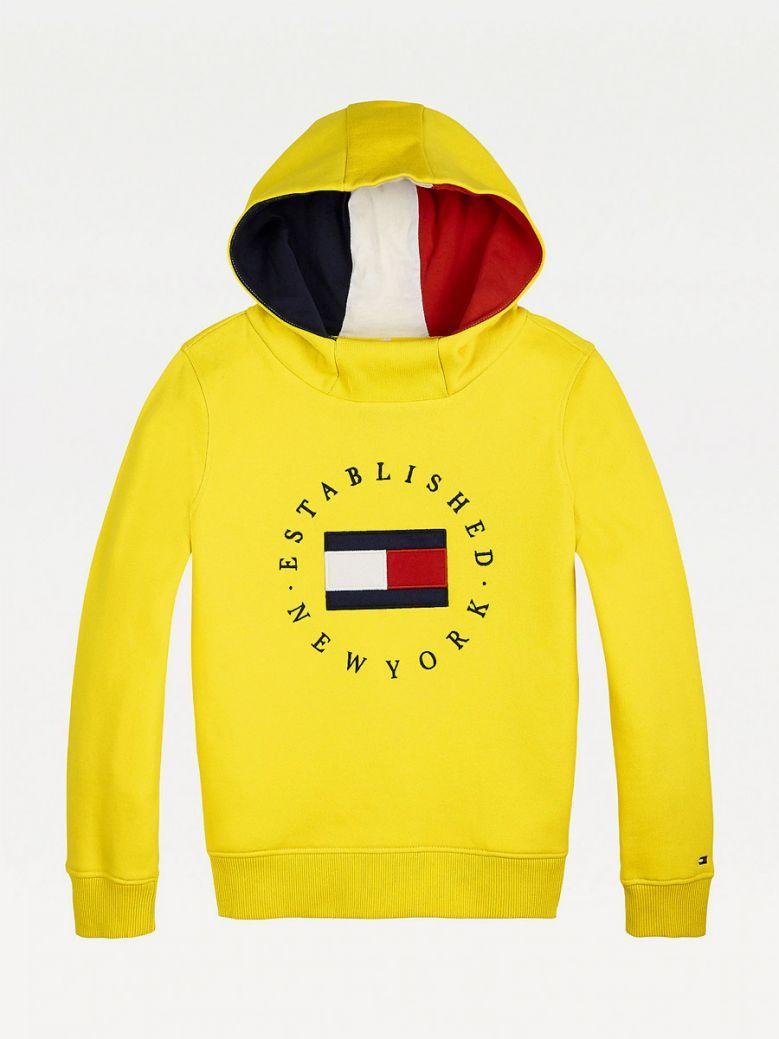 Tommy Hilfiger Kids Valley Yellow Logo Embroidery Fleece Hoody