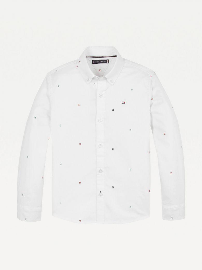 Tommy Hilfiger Kids White Monogram Print Oxford Shirt