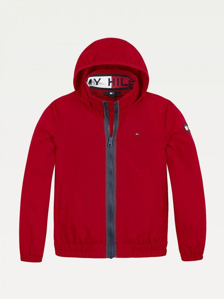 Tommy Hilfiger Kids Deep Crimson Essential Logo Collar Hooded Jacket