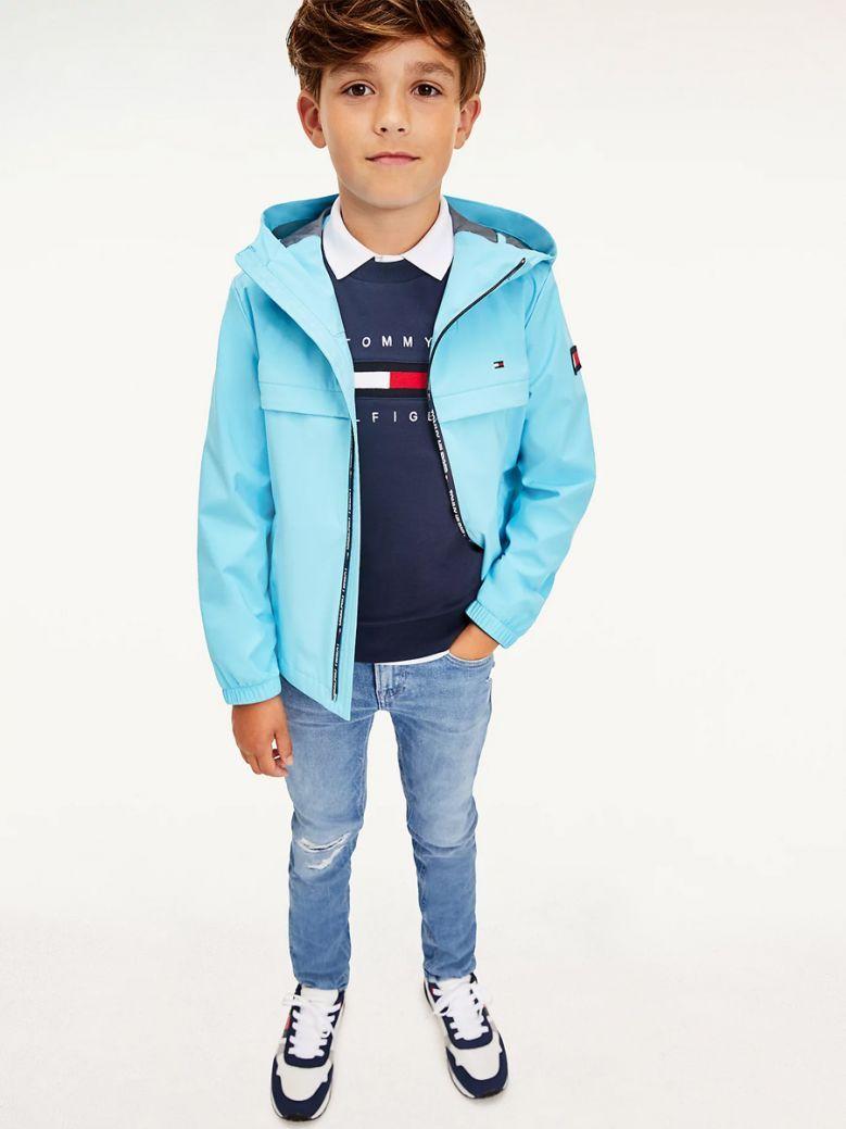 Tommy Hilfiger Kids Seashore Blue Rubberised Flag Patch Jacket