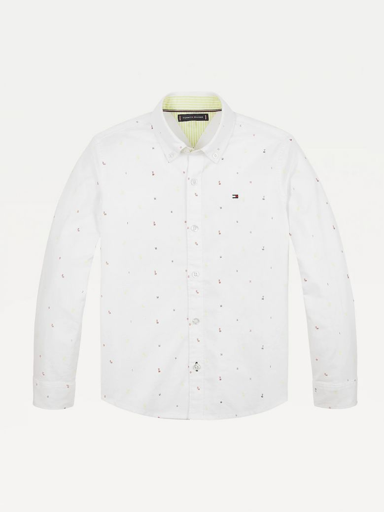 Tommy Hilfiger Kids White Allover Micro Flag and Letter Embroidery Shirt