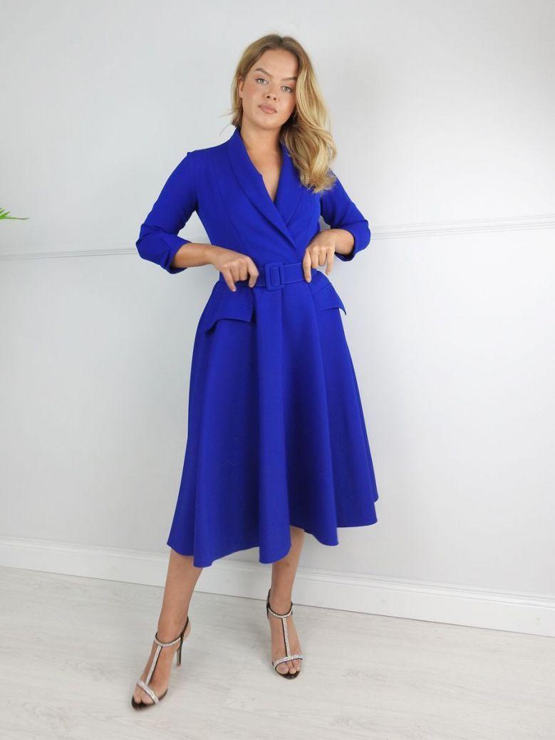 Kate Cooper Blue Belted Swing Dress