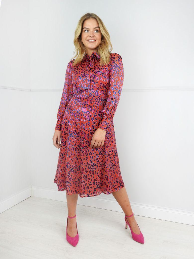 Kate Cooper Red Animal Print Tie Neck Midi Dress