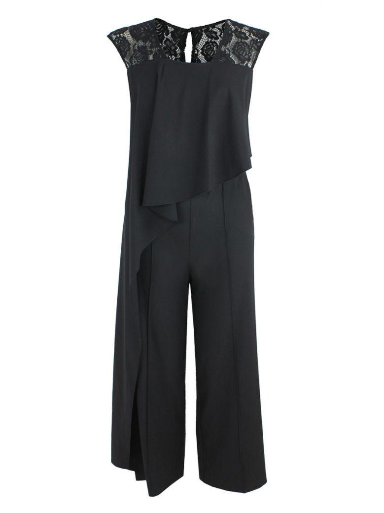 Kate Cooper Black Lace Shoulder Ruffle Jumpsuit