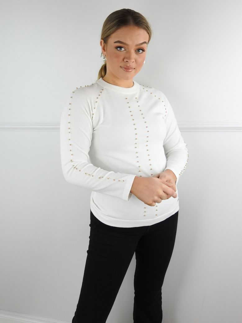 Rino & Pelle Cream Knit Jumper with Metal Pearl