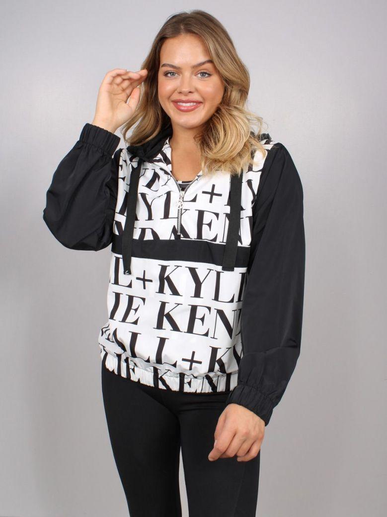 Kendall + Kylie Logo Windbreaker Black and White